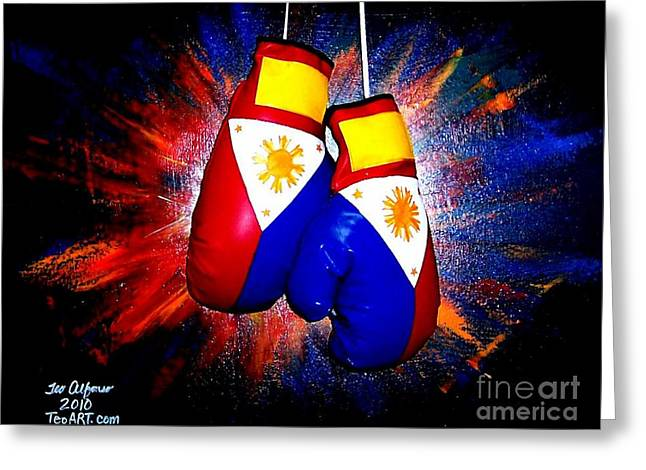 Manny Greeting Cards - Filipino Boxer - Boxing from the Philippines Greeting Card by Teo Alfonso
