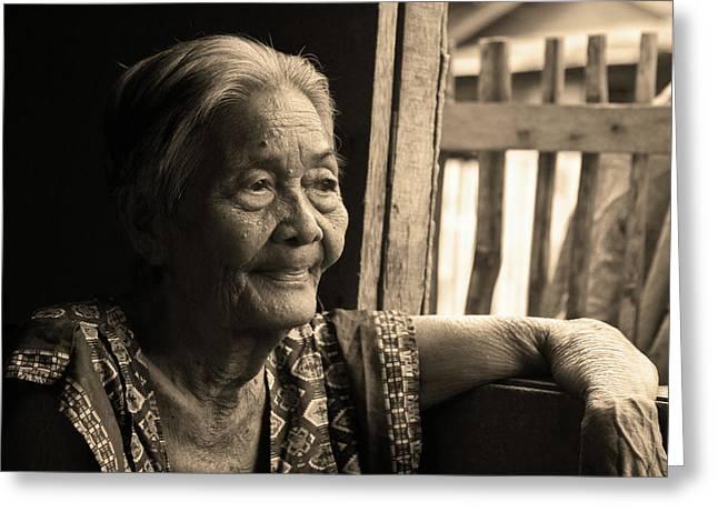 Filipina Greeting Cards - Filipino Lola - Image 14 Sepia Greeting Card by James BO  Insogna