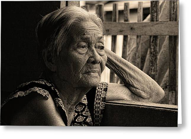 Filipino Arts Greeting Cards - Filipino Lola Image Number 33 in Black and White Sepia Greeting Card by James BO  Insogna