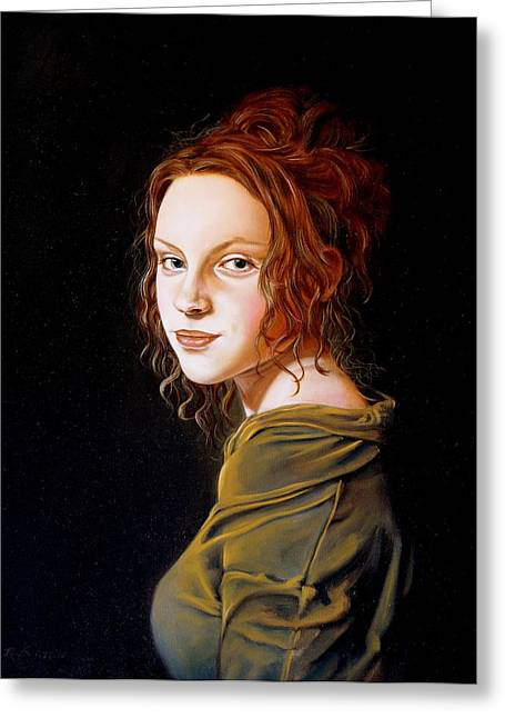 Girl With A Pearl Earring Greeting Cards - Fille avec le chemisier vert Greeting Card by RB McGrath