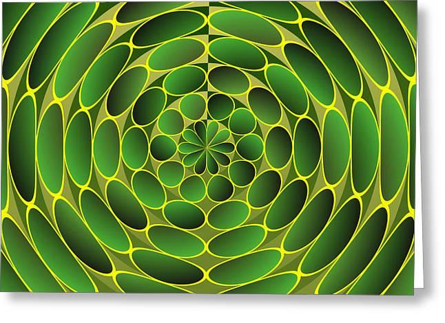 Geometric Artwork Greeting Cards - Filled green ellipses Greeting Card by Gaspar Avila