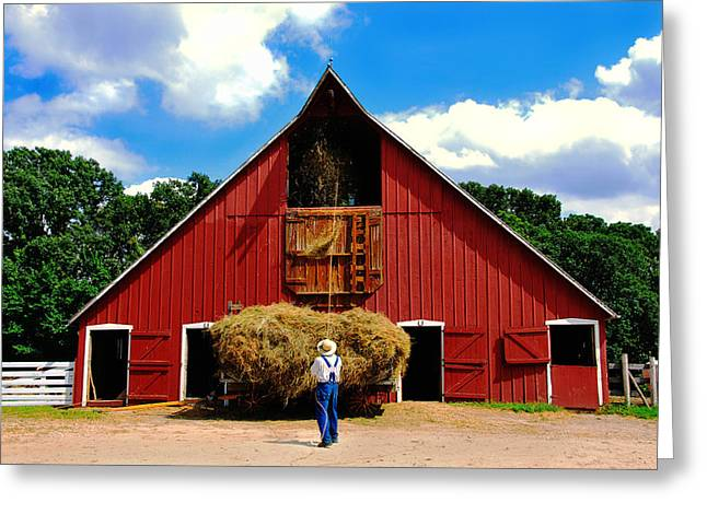 Old Barns Greeting Cards - Filling the Haymow Greeting Card by Lyle  Huisken