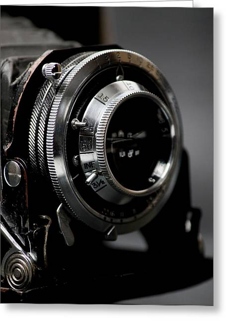 Old Photos Greeting Cards - Film camera in black Greeting Card by Kitty Ellis