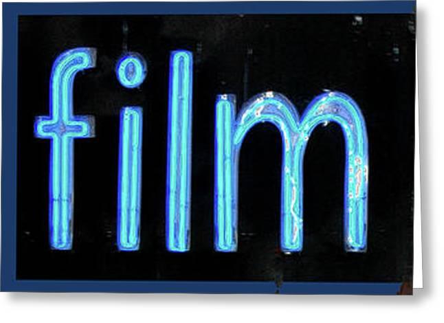 Adspice Studios Art Greeting Cards - Film Center Vintage Blue Sign Greeting Card by ArtyZen Studios - ArtyZen Home