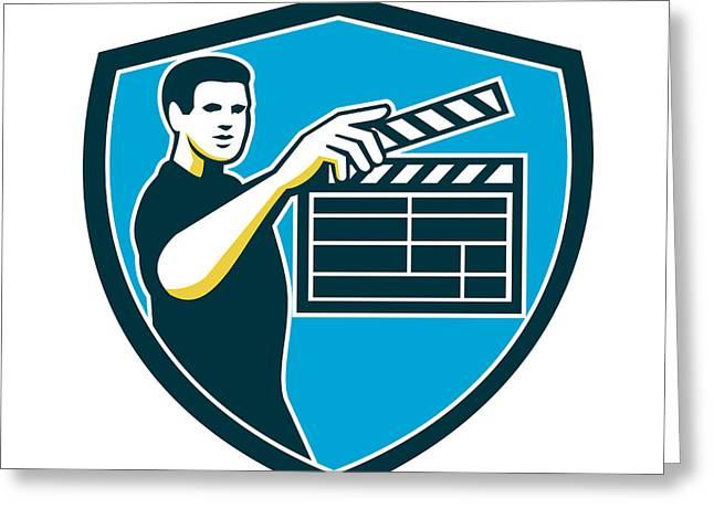 Film Crew Clapperboard Shield Retro Greeting Card by Aloysius Patrimonio