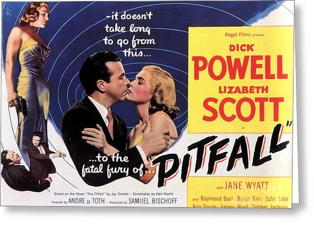 Film Noir Poster  Pitfall Greeting Card by R Muirhead Art