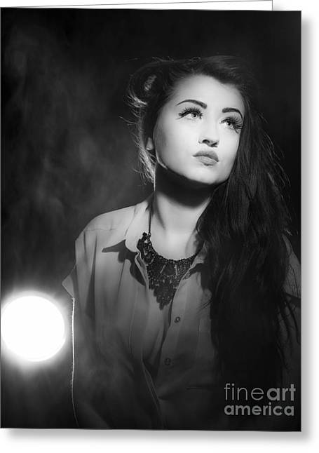 Film Noir Style Woman In Spotlight Greeting Card by Amanda Elwell