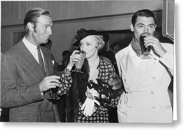 Film Stars At Gathering Greeting Card by Underwood Archives