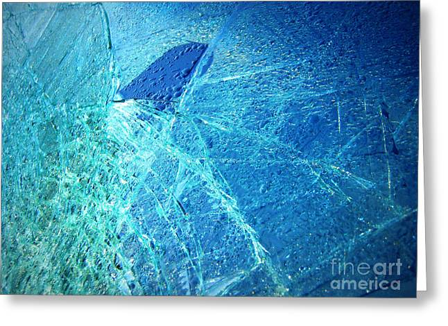 Green Ocean Glass Greeting Cards - Fin  Greeting Card by Kristine Nora