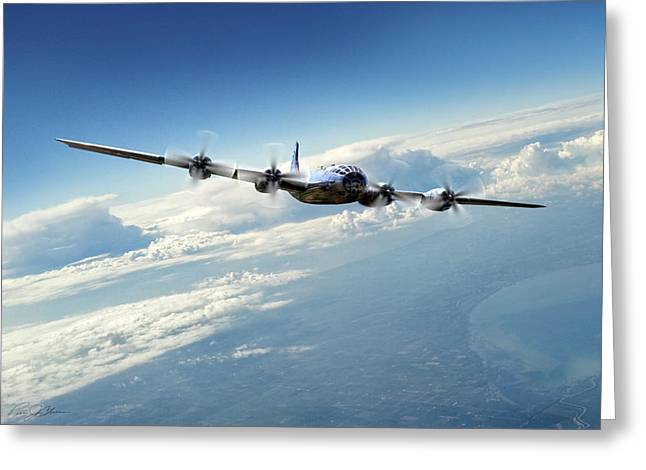 Enola Gay Greeting Cards - Final Approach  Greeting Card by Peter Chilelli