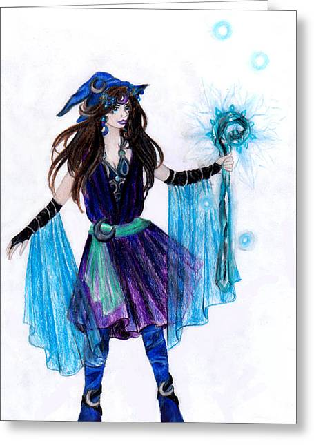 Final Fantasy Greeting Cards - Final Fantay Black Mage Greeting Card by Rebecca Tripp