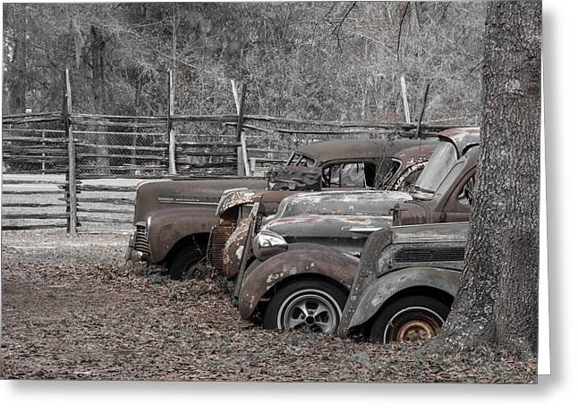 Recently Sold -  - Rusted Cars Greeting Cards - Final Lap Greeting Card by Valerie L Cason