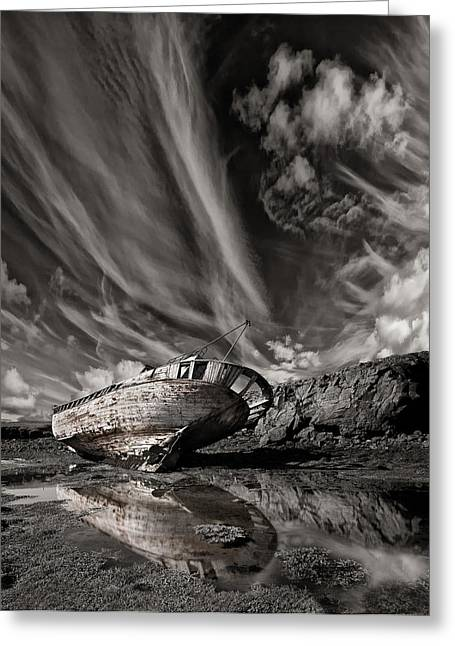 Wrecks Greeting Cards - Final Place (mono) Greeting Card by Thorsteinn H. Ingibergsson