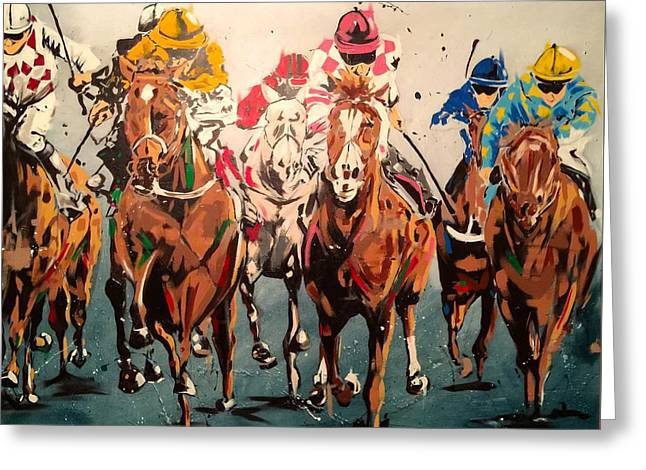 Race Horse Greeting Cards - Final Stretch Greeting Card by Daniel Ross