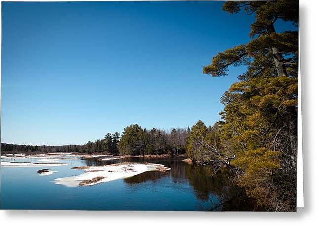 Snowy Day Greeting Cards - Final Winter Days on the Moose River Greeting Card by David Patterson