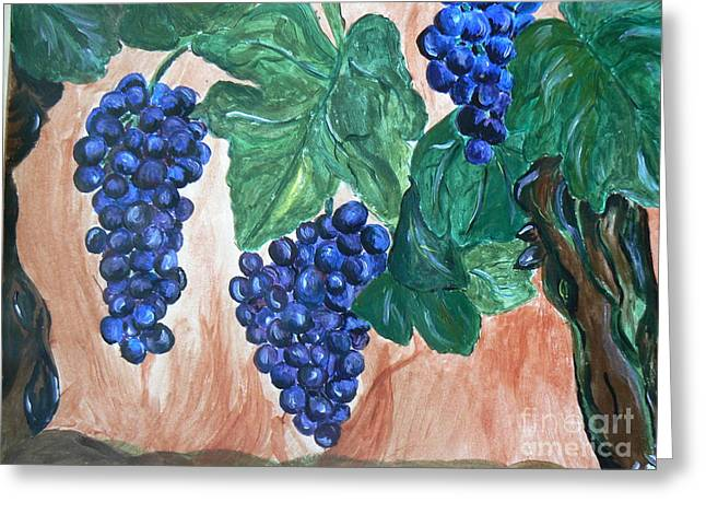 Concord Grapes Paintings Greeting Cards - Finally Time For Wine Greeting Card by Tobi Cooper