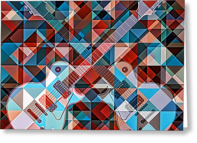 Geometric Artwork Greeting Cards - Find The Guitar Greeting Card by Nenad  Cerovic