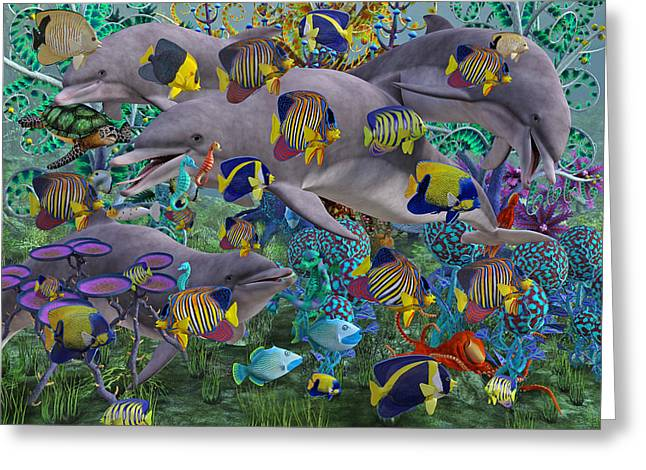 Dolphin Greeting Cards - Find the Sea Dragon Greeting Card by Betsy C  Knapp