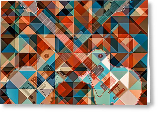 Geometric Artwork Greeting Cards - Find The Summer Guitar Greeting Card by Nenad  Cerovic