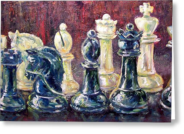 Chess Piece Paintings Greeting Cards - Find Your Piece Greeting Card by Alan Schwartz