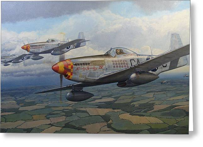 Military Airplanes Paintings Greeting Cards - Finding a Gap Greeting Card by Steven Heyen