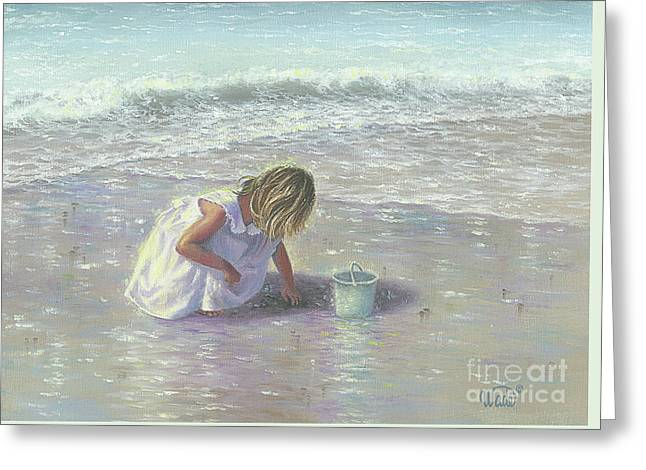 Finding Sea Glass Greeting Card by Vickie Wade
