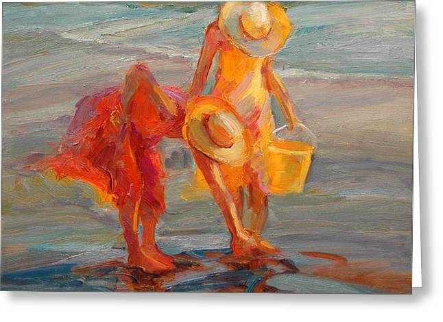 Oil Painter Greeting Cards - Finding Shells Greeting Card by Diane Leonard