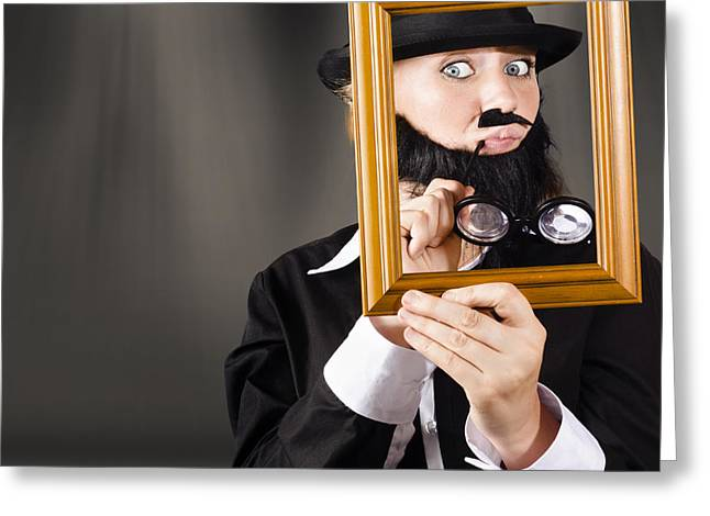 Fine Art Buyer Studying Picture In Modern Gallery Greeting Card by Jorgo Photography - Wall Art Gallery
