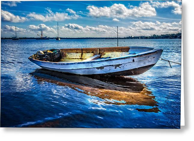 Sailboats In Harbor Greeting Cards - Fine Blue Morning Greeting Card by Debra and Dave Vanderlaan
