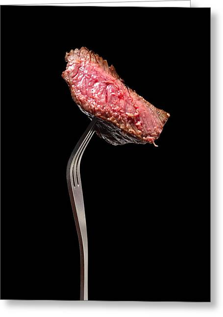 Red Meat Greeting Cards - Fine dining Greeting Card by Paul Cowan