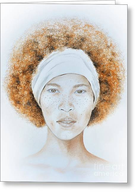 Woman Head Greeting Cards - Fine Foxy Fashionable Freckled Female with a Fro Greeting Card by Jim Fitzpatrick