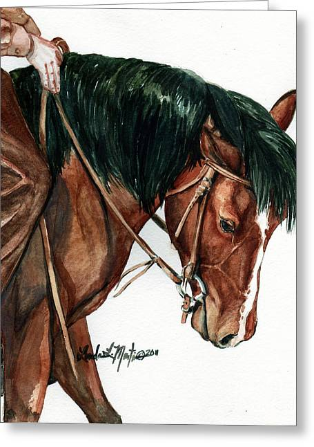 Wild Horses Greeting Cards - Fine Tuning Greeting Card by Linda L Martin