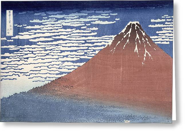 Fuji Greeting Cards - Fine weather with South wind Greeting Card by Hokusai