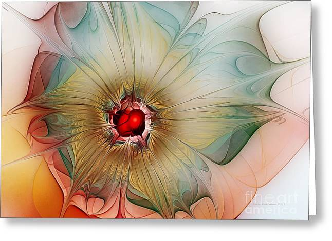 Flowery Greeting Cards - Finely Spruced Flower Greeting Card by Karin Kuhlmann
