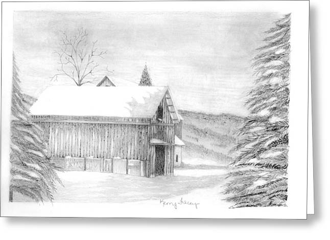 Finger Lake Barn Greeting Card by Kerry Facey