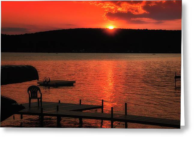 Finger Lakes New York Sunset By The Dock 02 Greeting Card by Thomas Woolworth