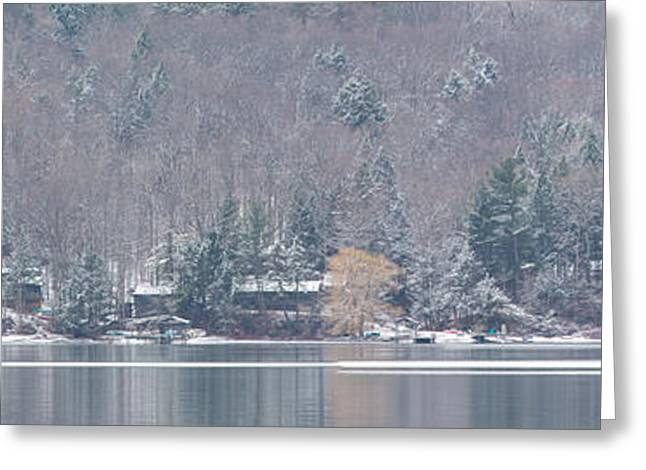 Keuka Greeting Cards - Finger Lakes Winter Panorama Greeting Card by Michele Steffey