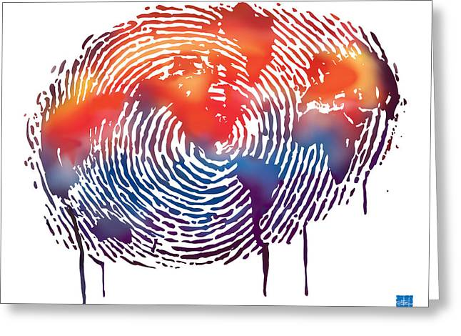 Drips Greeting Cards - Finger print map of the world Greeting Card by Sassan Filsoof
