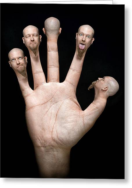 Hand Photographs Greeting Cards - Finger Puppets Greeting Card by Petri Damsten