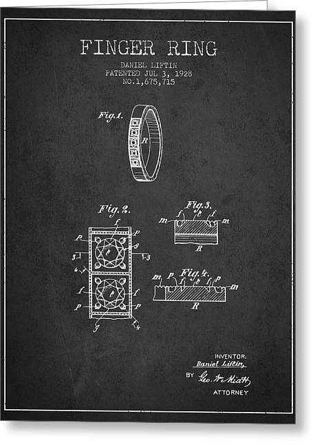 Diamond Ring Greeting Cards - Finger Ring Patent From 1928 - Charcoal Greeting Card by Aged Pixel