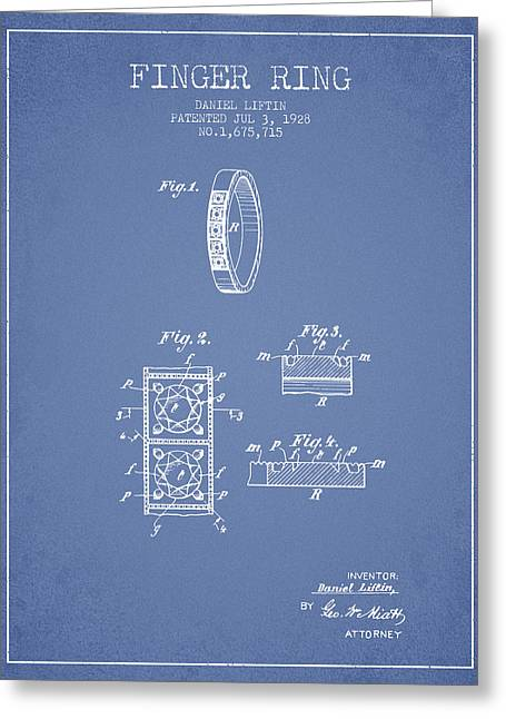 Diamond Ring Greeting Cards - Finger Ring Patent From 1928 - Light Blue Greeting Card by Aged Pixel