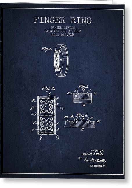 Diamond Ring Greeting Cards - Finger Ring Patent From 1928 - Navy Blue Greeting Card by Aged Pixel