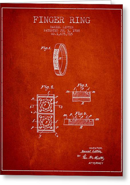 Diamond Ring Greeting Cards - Finger Ring Patent From 1928 - Red Greeting Card by Aged Pixel