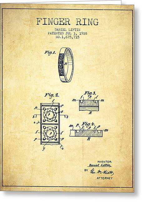 Diamond Ring Greeting Cards - Finger Ring Patent From 1928 - Vintage Greeting Card by Aged Pixel
