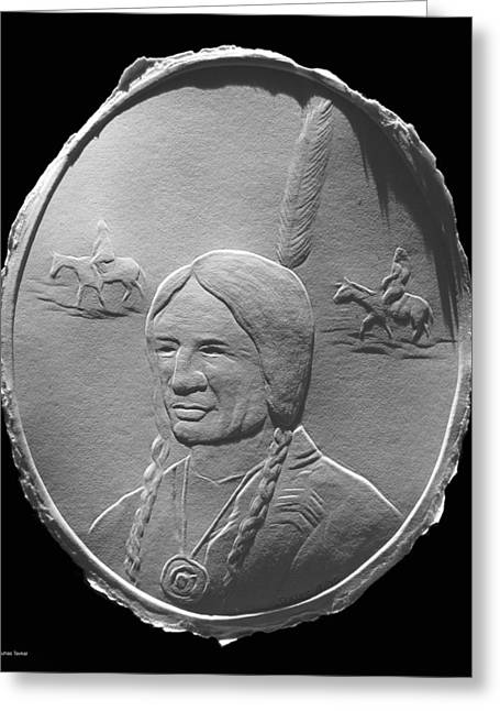 Drawing Reliefs Greeting Cards - Fingernail Relief Drawing Of American Indian  Greeting Card by Suhas Tavkar