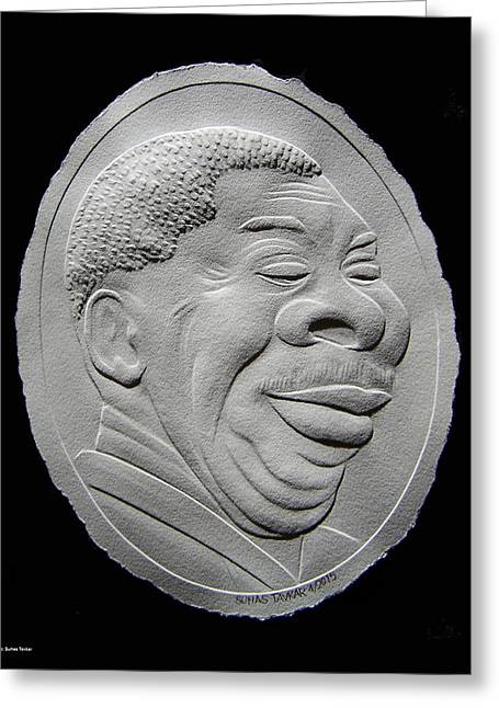 B Reliefs Greeting Cards - Fingernail Relief Portrait Of B B King Greeting Card by Suhas Tavkar
