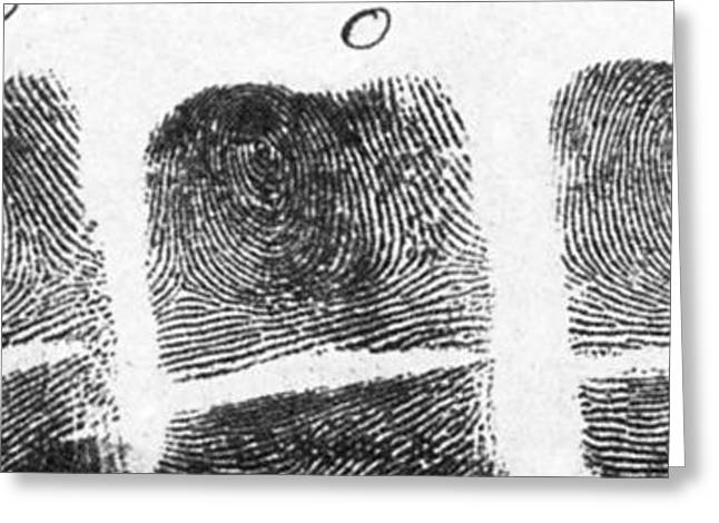 Forensic Greeting Cards - Fingerprints Of Vincenzo Peruggia, Mona Greeting Card by Photo Researchers