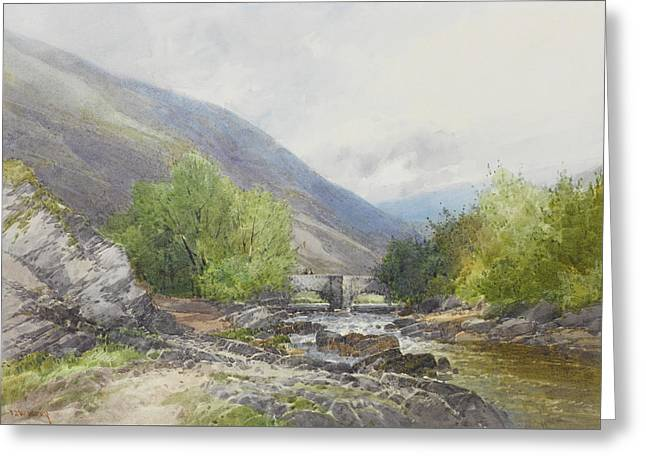 Fingle Bridge On The Teign Greeting Card by Frederick John Widgery