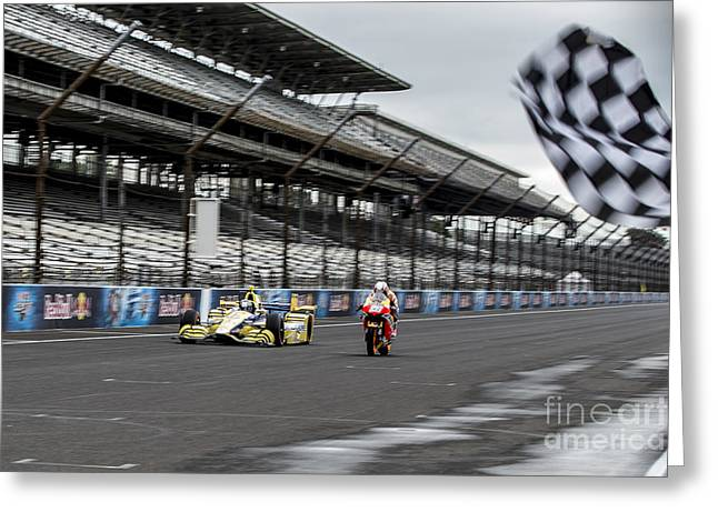 Marco Andretti Greeting Cards - Finish line Greeting Card by Ara Ashjian