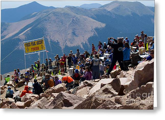 Footrace Greeting Cards - Finish Line at Pikes Peak Marathon and Ascent Greeting Card by Steve Krull